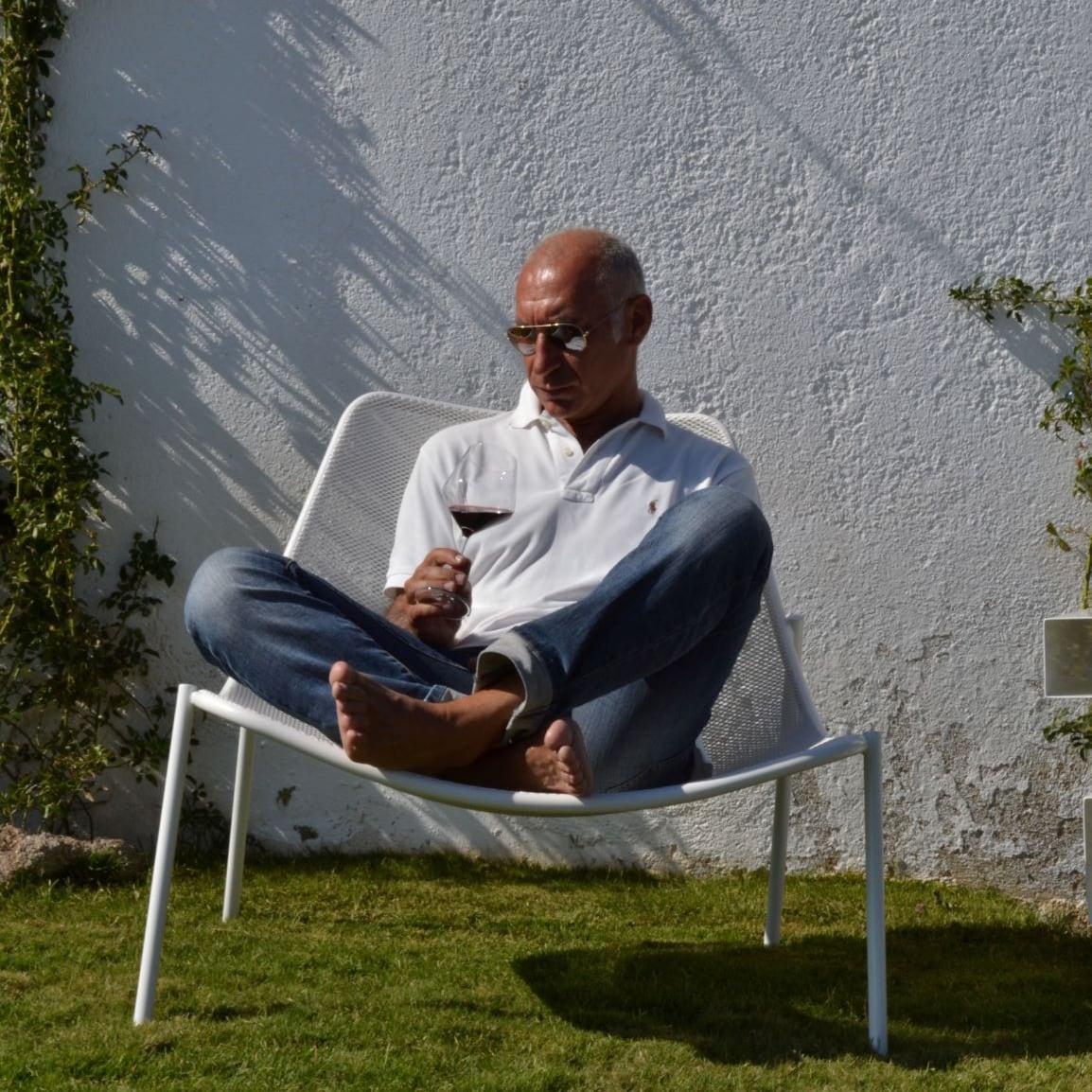 Marcello Scano durante un momento di pausa allo stazzo L'Agnunesa